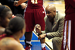 23 MAR 2012:  Head Coach Jacques Curtis instructs his players during the Division II Womens Basketball Championship held at Bill Greehey Arena in San Antonio, TX.  Shaw University defeated Ashland University 88-82 for the national title.  Rodolfo Gonzalez/ NCAA Photos