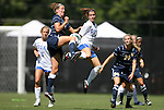 09 September 2012: Marquete's Ashley Stemmeler (left) and Duke's Cassie Pecht (right) challenge for the ball. The Duke University Blue Devils defeated the Marquette University Golden Eagles 5-2 at Koskinen Stadium in Durham, North Carolina in a 2012 NCAA Division I Women's Soccer game.
