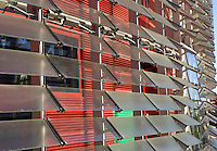 """Agbar Tower : detail of the glass sheets and colours ; Jean Nouvel (Fumel, Lot-et-Garonne, France 1945) and B720 architectural studio headed by Fermín Vázquez; June 1999 - Sept 2004; 142 meters height; 50,500 square meters built; 59,619 Glass Sheets; 4,349 Openings; 4500 Windows; 40 different colours; work included to the exhibition """"On-site, new architecture in Spain"""" at the Museum of Modern Art (New York, Feb - May 2006), Barcelona, Catalonia, Spain Picture by Manuel Cohen"""