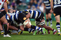 A general view of Bath Rugby in possession at a scrum. West Country Challenge Cup match, between Bath Rugby and Gloucester Rugby on September 26, 2015 at the Recreation Ground in Bath, England. Photo by: Patrick Khachfe / Onside Images