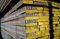 Boards packed for export at sawmill at Marajo Island in Amazon estuary, Brazil