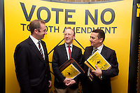 NO REPRO FEE. VOTE NO TO THE 30TH AMENDMENT. Pictured at the Official launch of the 'NO' Campaign at the The Westbury Hotel, Dubliin are L-R , Oisín Quinn SC, Professor Gerry Whyte, Trinity College Dublin, Constitutional Law expert and Dublin City Councilor (Labour), Donnacha O'Connell, National University of Ireland Galway. Picture James Horan/Collins.