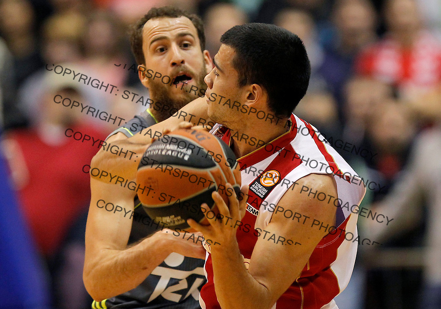 Kosarka Euroleague season 2015-2016<br /> Euroleague <br /> Crvena Zvezda v Real Madrid<br /> Nikola Rebic (R) and Sergio Rodriguez<br /> Beograd, 27.11.2015.<br /> foto: Srdjan Stevanovic/Starsportphoto &copy;