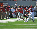 Ole Miss quarterback Randall Mackey (1) passes vs. Arkansas at Vaught-Hemingway Stadium in Oxford, Miss. on Saturday, October 22, 2011. .
