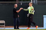 28 August 2016: SLU head coach Mike McGinty (left) with Sascha Otte (GER) (right). The University of North Carolina Tar Heels hosted the Saint Louis University Billikens at Fetter Field in Chapel Hill, North Carolina in a 2016 NCAA Division I Men's Soccer match. UNC won the game 3-0.