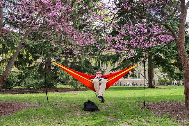 April 18, 2017; Student Dennis Sullivan studies for a chemistry class. (Photo by Barbara Johnston/University of Notre Dame)