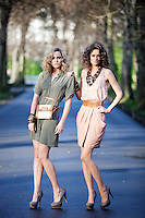 NO REPRO FEE. 1/2/2011. A|WEAR LAUNCHES SPRING 2011.  Sarah Morrissey and Isabelle Traber model a selection looks from A|wear's spring '11 collection at  St Stephens Green, Dublin. Sarah wears Luxe utility shirt dress - EUR45 and Cross body bag - EUR22. Isabelle wears Racer back cami - EUR30   Luxe pleat skirt - EUR35,  Multistrap belt - EUR12. The collection is available now instore and on www.awear.com from this week.  Picture James Horan/Collins Photos