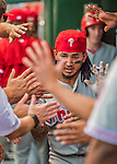 11 September 2016: Philadelphia Phillies infielder Freddy Galvis returns to the dugout after hitting a solo home run in the 8th inning against the Washington Nationals at Nationals Park in Washington, DC. The Nationals edged out the Phillies 3-2 to take the rubber match of their 3-game series. Mandatory Credit: Ed Wolfstein Photo *** RAW (NEF) Image File Available ***