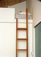 A wall-mounted wooden ladder leads to a sleeping platform tucked under the eaves of this double-height room