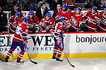 15 October 2009: The Montreal Canadiens bench celebrate a goal against the Colorado Avalanche at the Bell Centre in Montreal, Quebec, Canada. The Avalanche edged out the Habs 3-2 in Montreal's season home opener. Mandatory Credit: Ed Wolfstein Photo