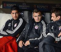 FUSSBALL   CHAMPIONS LEAGUE   SAISON 2012/2013   GRUPPENPHASE   FC Bayern Muenchen - FC Valencia                            19.09.2012 Ersatzbank des FC Bayern Muenchen;  Emre Can, Xherdan Shaqiri und Mario Mandzukic (v.li.)