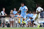 28 August 2015: North Carolina's Nico Melo (31) and FIU's Donald Tomlinson (26). The University of North Carolina Tar Heels hosted the Florida International University Panthers at Fetzer Field in Chapel Hill, NC in a 2015 NCAA Division I Men's Soccer match. North Carolina won the game 1-0