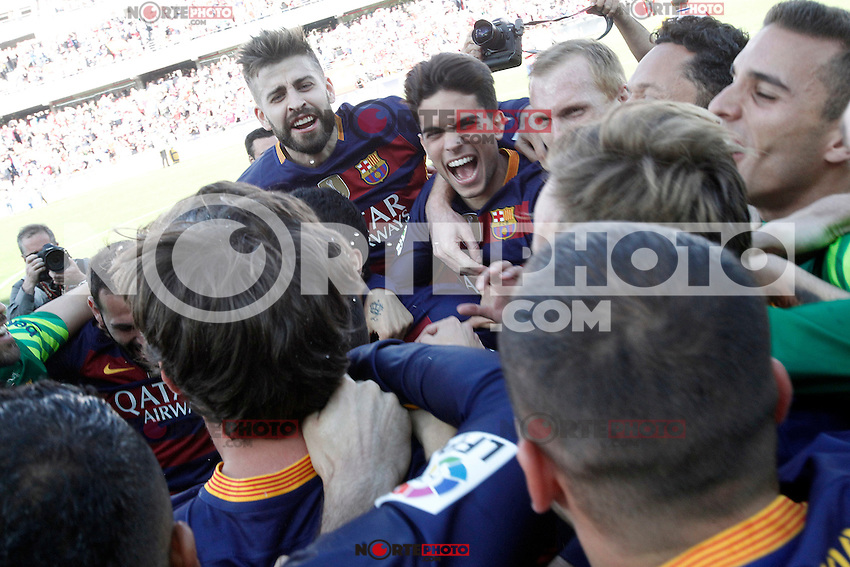 FC Barcelona's players celebrate the victory in La Liga 2015/2016. May 14,2016. (ALTERPHOTOS/Acero) /NortePhoto.com