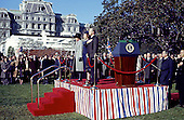 Washington, DC - (FILE) -- United States President Jimmy Carter, right, Prime Minister Margaret Thatcher of the United Kingdom, center, and first lady Roslyn Carter, left, show respect for the presentation of the colors at the arrival ceremonies in Thatcher's honor at the White House in Washington, D.C. on Monday,December 17, 1979. In her remarks she praised 's, right, handling of the Iran hostage crisis by saying he has gained respect around the world for his courage and patience.  First lady Roslyn Carter, center, looks on..Credit: Benjamin E. &quot;Gene&quot; Forte - CNP