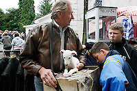 A man is pictured selling puppies at the Spancil Hill fair.Each year on the 23rd of June, the nearby Fair Green is used for the famous Spancilhill Horse Fair. At one time, Spancil hill was said to be Ireland's largest fair with buyers from Britain, Russia, Prussia, and France competing to purchase the best stock for their Imperial armies.