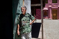 """Ventura, California, July 14, 2010 - A portrait of Bob McCullough on the film and television production lot at Brooks Institute, which was used to film Erin Brockovich, as well as parts of Titanic and Cast Away. McCullough, who wrote for programs such as Bionic Woman and B.J. and the Bear as well as being the supervising producer on the hugely popular '80's soap Falcon Crest, is one of 165 television writers who were plaintiffs in a long-running age-bias case against more than two dozen defendants that essentially run the television business. Among them are the big networks and production studios and seven major talent agencies. """"It became apparent that the Aloha shirts and young persona were not fooling the young executives that I was meeting with,"""" McCullough says. """"They said, 'Gosh, you wrote my mother's favorite TV show!' My agent said, 'There's not much more we can do for you. Your time is done.' He was absolutely ruthless and brutal."""" McCullough lives in Montecito (part of Santa Barbara, 75 miles north of Los Angeles) and is writing a book with his wife on celebrities who now reside in Santa Barbara."""