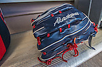 9 March 2013: Washington Nationals outfielder Bryce Harper's Glove rests in the dugout prior to a Spring Training game against the Miami Marlins at Space Coast Stadium in Viera, Florida. The Nationals edged out the Marlins 8-7 in Grapefruit League play. Mandatory Credit: Ed Wolfstein Photo *** RAW (NEF) Image File Available ***