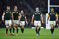 South Africa players look on during a break in play. Rugby World Cup Semi Final between South Africa and New Zealand on October 24, 2015 at Twickenham Stadium in London, England. Photo by: Patrick Khachfe / Onside Images
