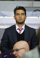 LIVERPOOL, ENGLAND - Thursday, October 4, 2012: Liverpool 'Suso' Jesus Joaquin Fernandez Saenz De La Torre in the Director's Box as the Reds take on Udinese Calcio during the UEFA Europa League Group A match at Anfield. (Pic by David Rawcliffe/Propaganda)