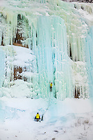 Ice climbing Grand Island West Curtains at Pictured Rocks National Lakeshore near Munising, Michigan.