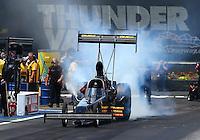 Jun 21, 2015; Bristol, TN, USA; NHRA top fuel driver Troy Buff during the Thunder Valley Nationals at Bristol Dragway. Mandatory Credit: Mark J. Rebilas-