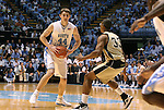 08 November 2008: North Carolina's Tyler Zeller (44) is defended by Pembroke's Maurice Thorpe (33). The University of North Carolina Tarheels defeated the University of North Carolina at Pembroke Braves 102-62 at the Dean E. Smith Center in Chapel Hill, NC in an NCAA exhibition basketball game.