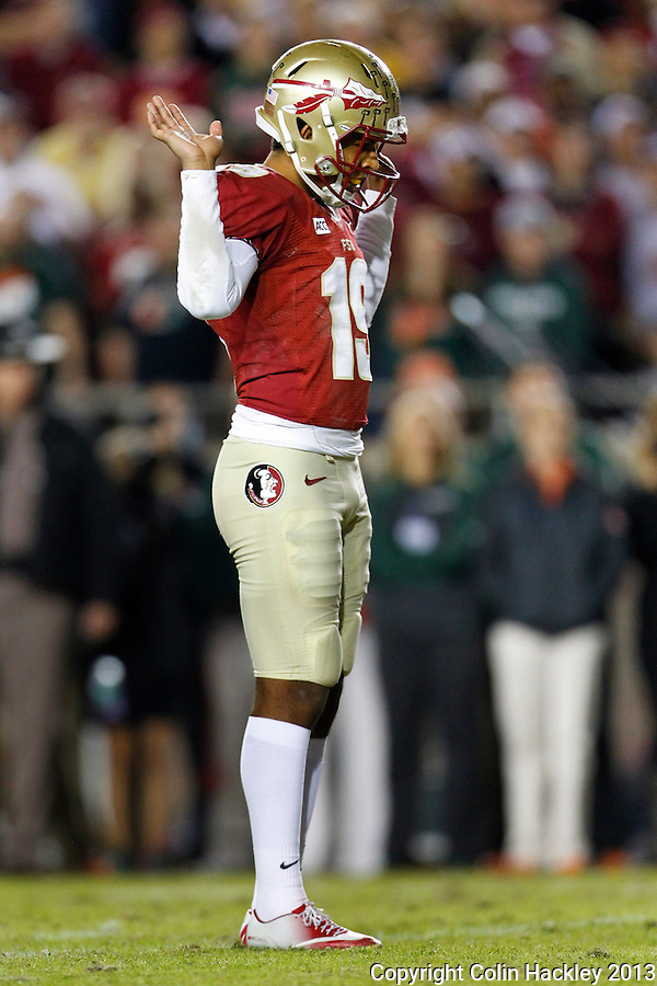 TALLAHASSEE, FL 11/2/13-FSU-MIAMI110213CH-Florida State's Roberto Aguayo celebrates his field goal against Miami during second half action Saturday at Doak Campbell Stadium in Tallahassee. The Seminoles beat the Hurricanes 41-14.<br /> COLIN HACKLEY PHOTO