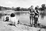 Middlefield, CT. August 1st and 2nd 1970.<br /> Powder Ridge Festival in Middlefield. Naked girls in front of lake.<br /> The Powder Ridge Rock Festival was scheduled to be held July 31, August 1 and August 2, 1970 at Powder Ridge Ski Area in Middlefield, Connecticut. A legal injunction forced the event to be canceled, keeping the musicians away; but a crowd of 30,000 attendees arrived anyway, to find no food, no entertainment, no adequate plumbing, and at least seventy drug dealers.