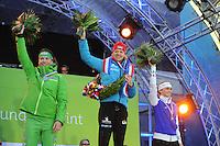 SCHAATSEN: AMSTERDAM: Olympisch Stadion, 02-03-2014, KPN NK Sprint/Allround, Coolste Baan van Nederland, eindpodium Dames Allround, Diane Valkenburg, Yvonne Nauta, Irene Schouten, ©foto Martin de Jong