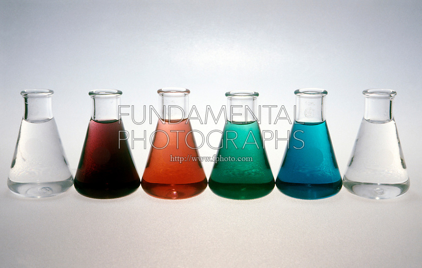 TRANSITION METAL COMPLEX SOLUTIONS<br /> Transition-Metal Compounds Are Often Colored.<br /> (Left to Right:) Solutions containing scandium, chromium, cobalt, nickel, copper, and zinc.