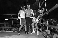 Roma  29 Maggio 2004.Incontro  di boxe dilettanti  Roma vs Londra alla Piscina delle Rose.Santo (Olimpic Gym) vs Herdman (Londra)