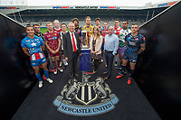 Picture by Allan McKenzie/SWpix.com - 15/05/2017 - Rugby League - Dacia Magic Weekend 2017 Preview - St James Park, Newcastle, England - Newcastle City Council Leader Nick Forbes with the colelagues and the 12 Super League representatives.