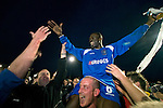Curzon Ashton v Exeter City, 08/11/2008. FA Cup first round, Tameside Stadium. Goalscorer James Ogoo of Curzon Ashton is carried shoulder high from the pitch by delighted supporters after his side's victory against Exeter City in the FA Cup first round tie at the Tameside Stadium, Ashton-under-Lyne. The home team, who play in the Unibond first division north won the match 3-2 against their opponents from Coca Cola League 2, four divisions above Curzon Ashton. It was the home side's first-ever appearance in the FA Cup proper and their reward for winning the match was an away tie at Conference team Kidderminster Harriers. Photo by Colin McPherson.