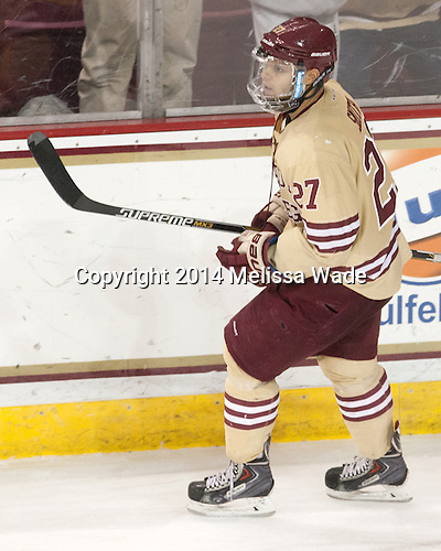 Quinn Smith (BC - 27) - The Boston College Eagles defeated the visiting University of Michigan Wolverines 5-1 (EN) on Saturday, December 13, 2014, at Kelley Rink in Conte Forum in Chestnut Hill, Massachusetts.