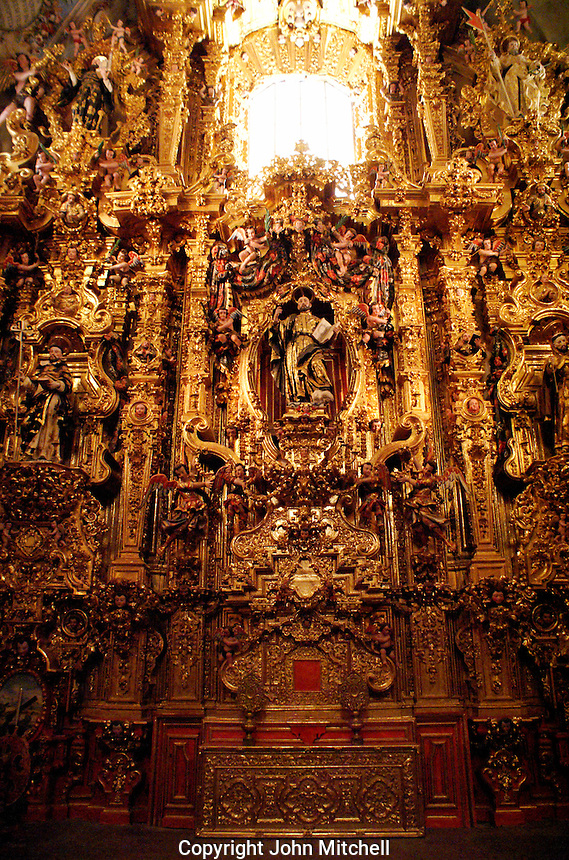 The San Ignacio de Loyola altarpiece  in the Iglesia de San Francisco Javier Church in Tepotzotlan, Mexico. The San Francisco Javier Church and adjoining former Jesuit monastery now house the National Museum of the Viceroyalty or Museo Nacional de Virreinato.