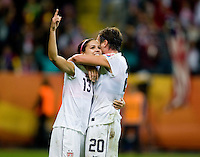 Abby Wambach, Alex Morgan.  Japan won the FIFA Women's World Cup on penalty kicks after tying the United States, 2-2, in extra time at FIFA Women's World Cup Stadium in Frankfurt Germany.