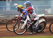 Heat 6 - Lanham (yellow), Hancock (red), Kolodziej - Reading Bulldogs vs Lakeside Hammers - Elite League Speedway at Smallmead, Reading- 23-04-07 - MANDATORY CREDIT: Gavin Ellis/TGSPHOTO - IMAGES USED WILL BE INVOICED AT STANDARD RATES..