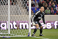 Seattle Sounders goalkeeper Kasey Keller (18). The New York Red Bulls defeated the Seattle Sounders 1-0 during a Major League Soccer (MLS) match at Red Bull Arena in Harrison, NJ, on March 19, 2011.