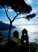 View of the coastline from Ravello towards Salerno, Amalfi Coast, Italy