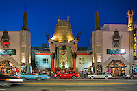 Grauman's Chinese Theater, Hollywood Ca. Boulevard, Night, Dusk, Royal Blue Sky,  Lights, reflections High dynamic range imaging (HDRI or HDR)