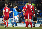 St Johnstone v Aberdeen.....07.12.13    SPFL<br /> Rory Fallon is sent off by ref Willie Collum<br /> Picture by Graeme Hart.<br /> Copyright Perthshire Picture Agency<br /> Tel: 01738 623350  Mobile: 07990 594431