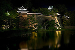 Matsue Castle is lit up at night in central Matsue City, Shimane Prefecture, Japan on 26 June 2011. The castle, which took 5 years to build and was completed in 1611, is the second largest of Japan's 12 remaining castles..Photographer: Robert Gilhooly.