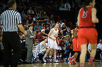 SPOKANE, WA - MARCH 30, 2013: Mikaela Ruef supports her team during the third round NCAA Championships game matching Stanford vs Georgia at the Spokane Arena. The Cardinal fell to the Bulldogs 61-59.