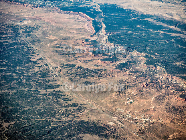 Thoreau, New Mexico, and Interstate 40 from Window seat over New Mexico, at the Continental Divide.