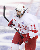 Carter Camper (Miami - 11) - The Miami University RedHawks defeated the Bemidji State University Beavers 4-1 in their 2009 Frozen Four Semi-Final match on Thursday, April 9, 2009 at the Verizon Center in Washington, DC.