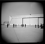 Secret Service agents at JFK Airport await the return by helicopter of President George W. Bush from a visit to Ground Zero in the aftermath of 9/11, New York City, New York, USA, October 3, 2001