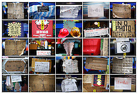 """A combination photo shows signs asking not to take pictures at different pro-democracy protesters' encampments in Hong Kong November 1 and 2, 2014. While some protesters are happy to be interviewed and photographed, others are putting """"no photo"""" signs asking not to be disturbed and for their faces not to be shown fearing possible reprisal from authorities who declared protesters' rallies illegal.    REUTERS/Damir Sagolj (CHINA)"""