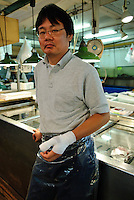 Portraits of people who work at Tsukiji fish market, Tokyo, Japan, March 26, 2007. The Tokyo Metropolitan Central Wholesale Market, better known as Tsukiji market, is the largest fish market in the world. Tsukiji is both a popular tourist attraction and a Mecca of Japanese food culture.