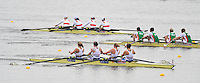 Brandenburg, GERMANY,  BW4- Repechage, GBR BW4-  Winning, Bow Victoria BRYANT, Jacqueline ROUND, Kirsty MYLES and Rachael JEFFERIES, 2008 FISA U23 World Rowing Championships, Friday, 18/07/2008, [Mandatory credit: Peter Spurrier Intersport Images]..... Rowing Course: Brandenburg, Havel Rowing Course, Brandenburg, GERMANY