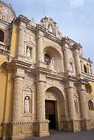 The ornate, plasterwork facade of La Merced Church  in the Spanish colonial city of Antigua, Guatemala
